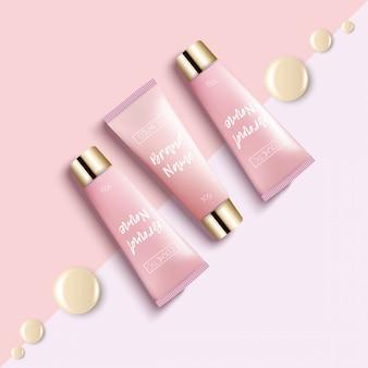 Imballaggio cosmetico realistico modello di progettazione. tube cream è uno sfondo luminoso, alla moda, giovane, una vista dall'alto. pubblicità di cosmetici alla moda.