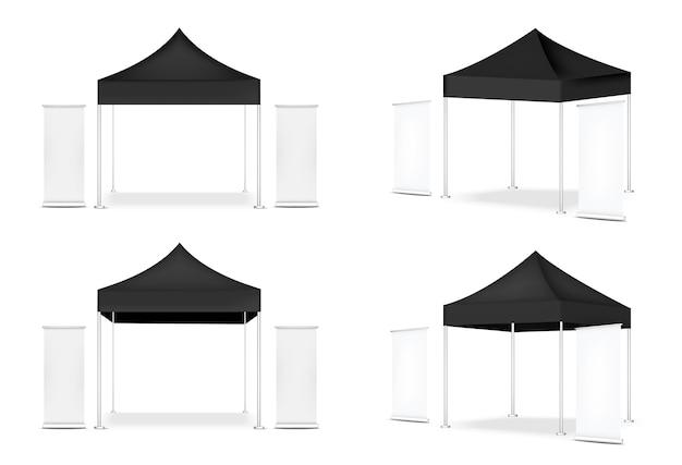Tenda realistica e roll up. banner per la mostra di promozione del marketing in vendita