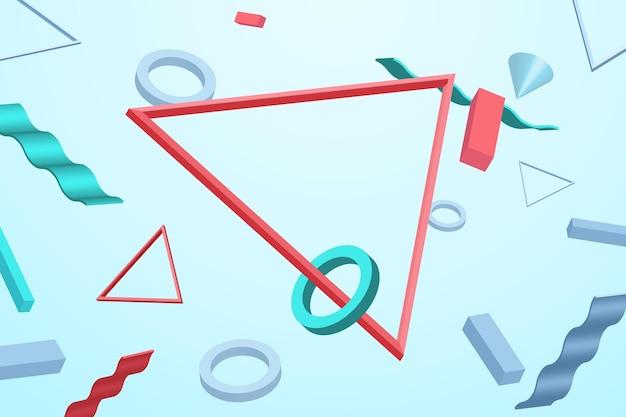 Sfondo di forme galleggianti tridimensionali realistiche Vettore Premium