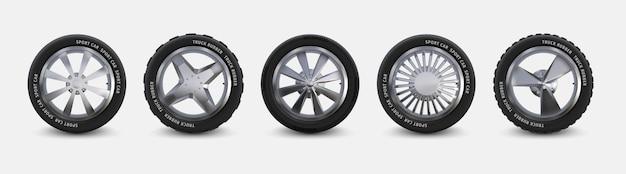Set di pneumatici realistici. ruote per camion isolate su pneumatici per auto bianchi, invernali ed estivi, cerchi in lega di alluminio dettagliati 3d. gomma automobilistica nera vettoriale con diversi cerchi per veicolo