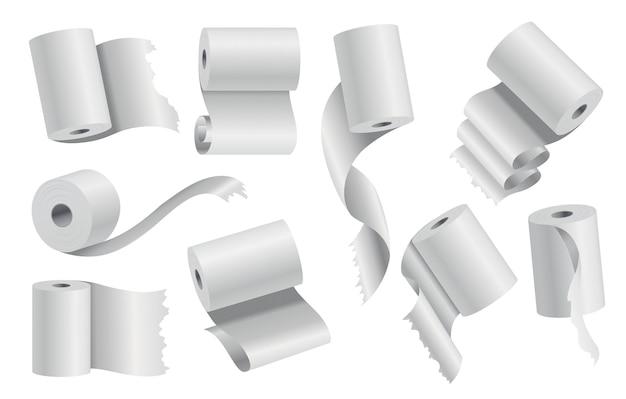 Realistico carta igienica o asciugamano da cucina rotolo modello mockup set illustrazione vettoriale isolato. oggetto 3d bianco vuoto. carta assorbente sanitaria, arrotolata su un cilindro di cartone.