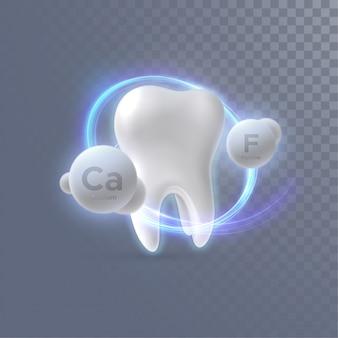 Dente realistico con particelle di calcio e fluoro isolate su sfondo trasparente.