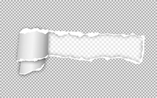 Striscia di carta strappata e attorcigliata realistica. bordo della carta strappata. Vettore Premium