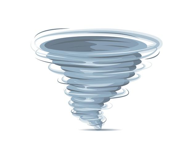 Turbinio realistico di tornado isolato su fondo bianco