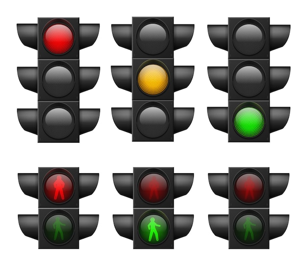 Semaforo realistico. luci a led rosse, gialle e verdi, strisce pedonali e sicurezza stradale, controllo incidenti, segnali di sistema di regolazione stradale insieme vettoriale isolato su sfondo bianco