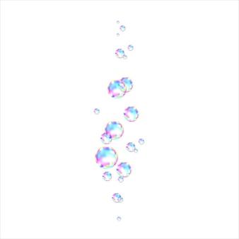 Bolle di sapone colorate trasparenti realistiche con riflesso arcobaleno isolato su sfondo bianco. trama vettoriale.