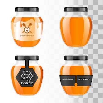 Realistico barattolo di vetro trasparente con miele. banca del cibo. confezione di miele. logo miele.