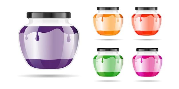 Realistico barattolo di vetro trasparente con marmellata, confettura o salsa.