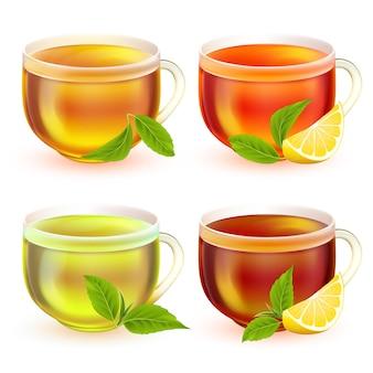 Tazze da tè realistiche in vetro trasparente con manico foglie verdi e limone tè verde nero e frutta