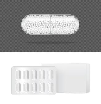 Pannello trasparente realistico della capsula della pillola della medicina