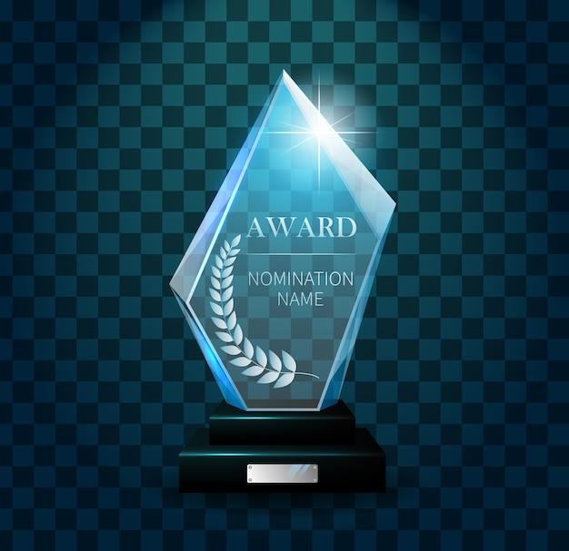 Trofeo vincitore trasparente realistico Vettore Premium