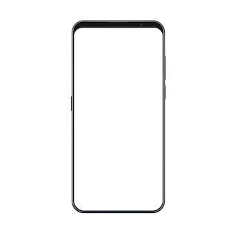 Smartphone alla moda realistico con cornici sottili e schermo bianco vuoto isolato.