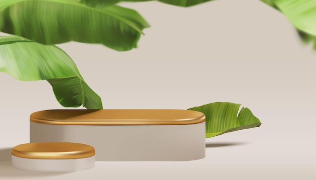 Scena realistica del podio tropicale con foglie di banana