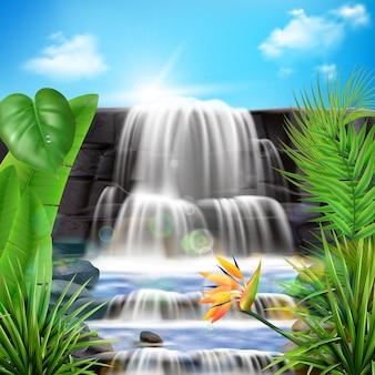 Realistica cascata tropicale con foglie e fiori illustrazione