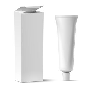 Tubo realistico con mockup di scatola. tuba di plastica bianca per dentifricio o crema, gel e modello vettoriale di cartone rettangolare. scatola illustrazione tubo bianco, vuoto prodotto medico