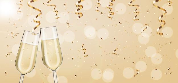 Realistici due bicchieri, champagne rosa, conffeti d'oro, festa, carta di anniversario, buon compleanno, sfondo di celebrazione