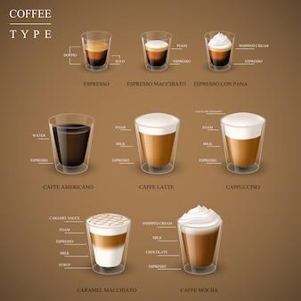 Tipo realistico di caffè espresso caldo in tazza di vetro dal set di macchine per caffè espresso