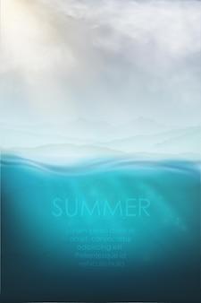 Vettore subacqueo realistico con squalo, subacqueo e mare