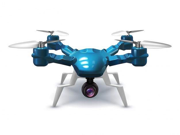 Drone senza pilota realistico con videocamera di registrazione. elicottero con telecomando illustrazione vettoriale 3d