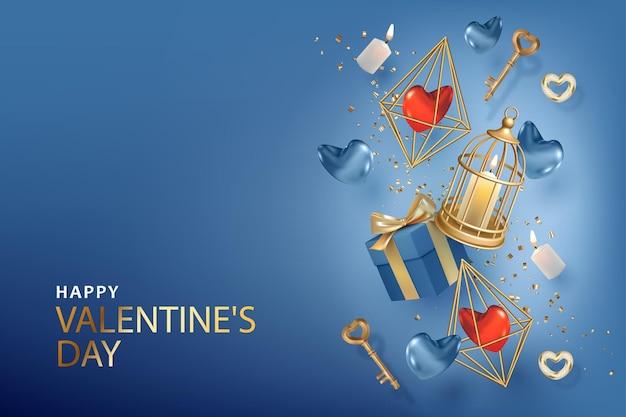 Banner di san valentino realistico. sfondo elegante con chiavi d'oro, candele, cuori e gabbia per uccelli