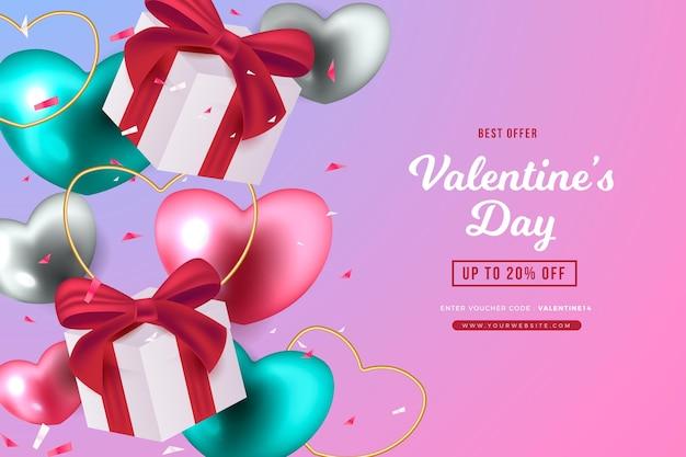 Fondo di vendita realistico di san valentino