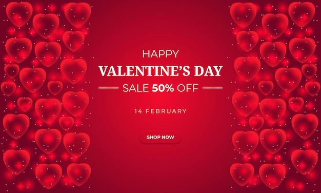 Banner di vendita realistico di san valentino con cuore
