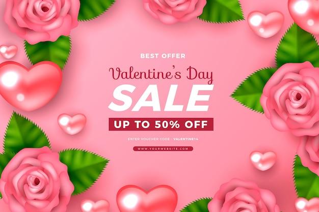 Carta da parati realistica di vendita di san valentino