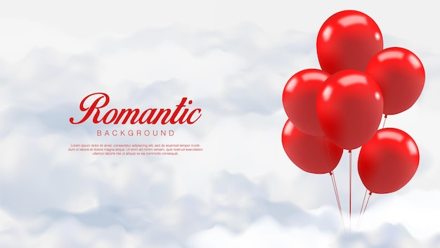 San valentino realistico. romantici palloncini rossi stanno sulle nuvole