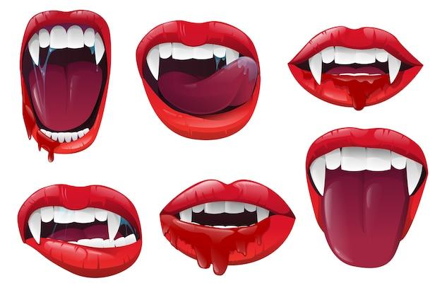 Bocca di vampiro realistico con saliva sanguinante