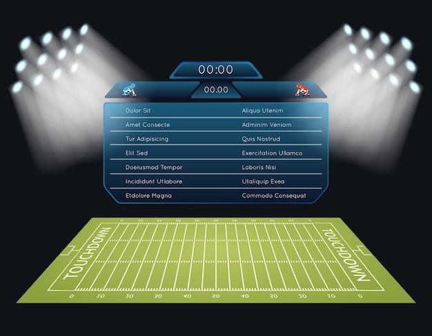 Campo di football americano di vettore realistico con tabellone segnapunti. touchdown, sport di rugby, gioco e stadio, competizione di campionato
