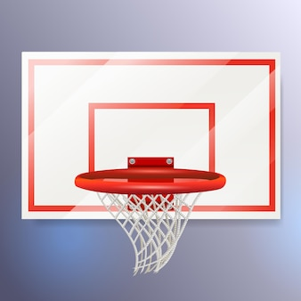 Il canestro da basket vettoriale realistico e il cestino a rete sono isolati per il tuo design