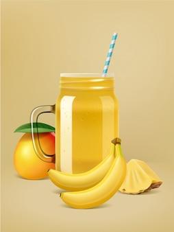 Poster di frullato di frutta realistico di vettore.