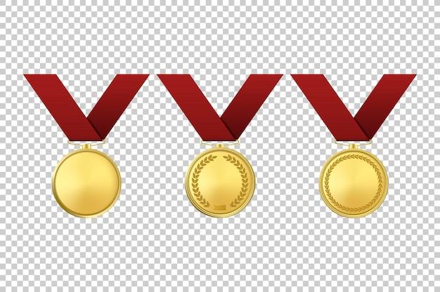 Insieme dell'icona di vettore realistico medaglie d'oro premio. primo piano isolato su sfondo trasparente. modello di progettazione, mockup, illustrazione eps10.
