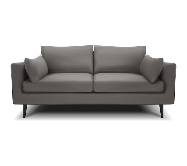 Divano grigio vettoriale realistico, divano su un bianco