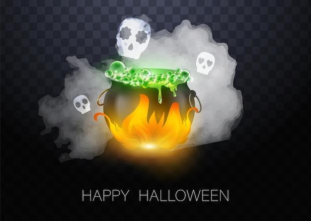 Calderone della strega nera di halloween di vettore realistico con birra verde con gli occhi. felice faccia zucca di halloween e calderone isolato su sfondo bianco.