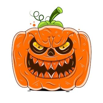 Zucca di halloween di vettore realistico con la candela all'interno. faccia felice zucca di halloween isolati su sfondo bianco.