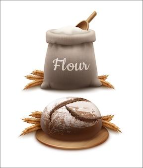 Illustrazione realistica di vettore del pane con le spighette e il sacchetto di farina con la pala di legno isolata su fondo bianco