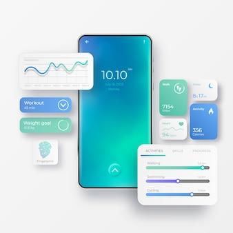 Telefono cellulare vettoriale realistico con elementi dell'interfaccia dell'app per il fitness