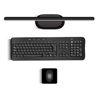 Vettore realistico di una tastiera e un mouse monitor visti dalle parti più realistiche del pc
