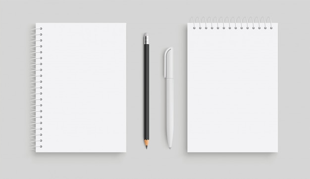 Taccuino realistico di vettore e pancil bianco, penna. vista frontale.