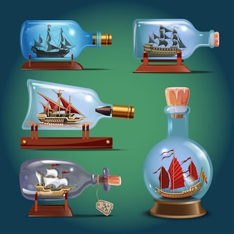 Set vettoriale realistico di bottiglie di vetro con navi all'interno. mestieri di vela. modelli in miniatura di imbarcazioni marine. hobby e tema mare