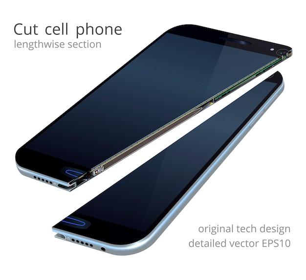 Smartphone realistico di vettore. sezione trasversale del telefono cellulare. modello 3d originale con taglio a metà. split cellulare moderno. vista in sezione dei dettagli elettronici interni basata su un hardware reale.