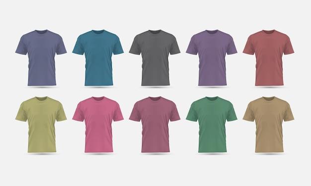 Vettore realistico t-shirt colore pastello vista frontale mockup vuoto insieme di raccolta sfondo grigio illustrazione.