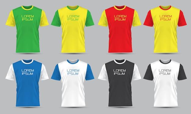 Insieme di raccolta di vista frontale di sport della maglietta realistica di vettore con testo su sfondo grigio