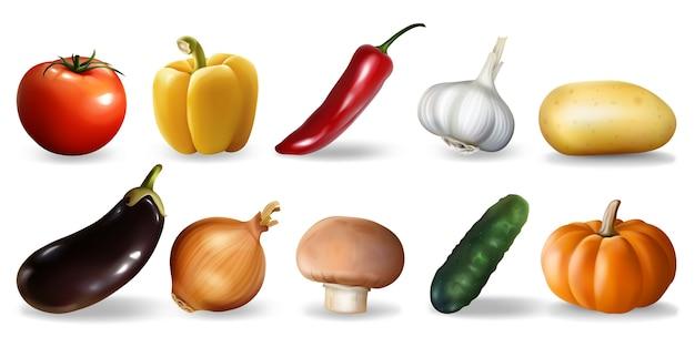 Set di verdure realistiche.