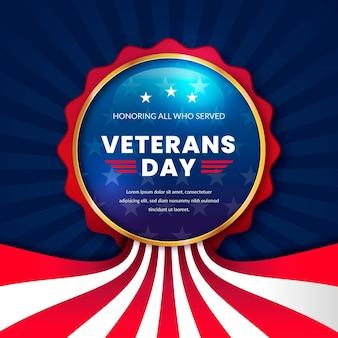 Distintivo realistico del giorno dei veterani
