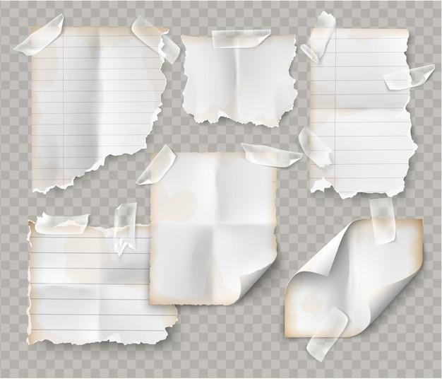 Foglio strappato vintage realistico di carta per notebook