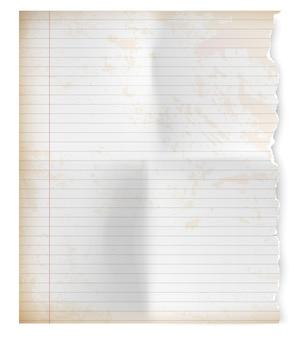 Foglio strappato vintage realistico di carta per notebook.