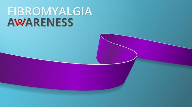 Nastro viola realistico. poster del mese di consapevolezza della fibromialgia. illustrazione vettoriale. concetto di solidarietà per la giornata mondiale della fibromialgia. sfondo blu.