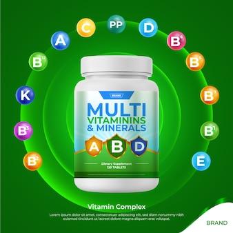 Realistico concetto di pacchetto complesso vitaminico